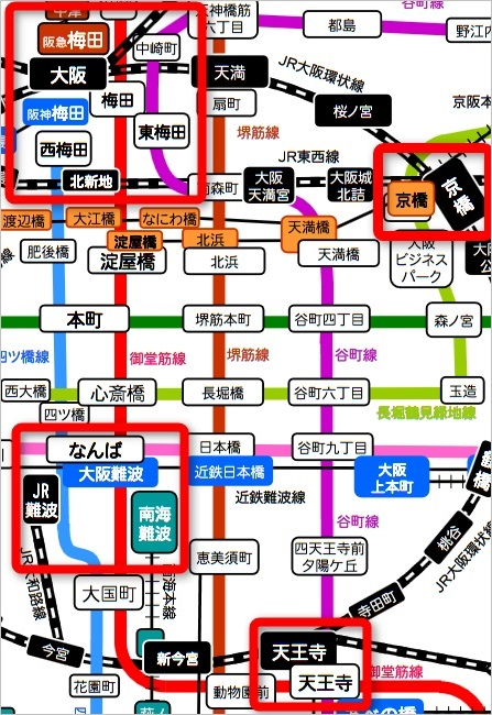 大阪市中心地路線図