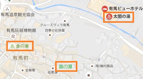 織間温泉街地図(太閤の湯、金の湯、銀の湯)