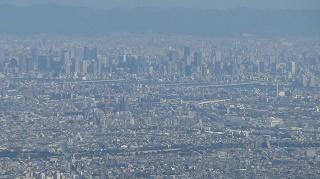 六甲山から見る梅田周辺ビル街