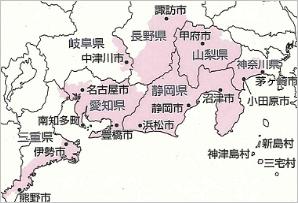 東海地震に係る地震防災対策強化地域の市町村図