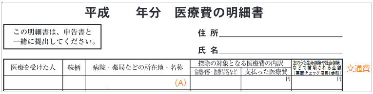 手書きの医療費明細書の書き方2(交通費の記入例)