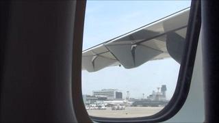 離陸前の天草エアラインの主翼(機内から)